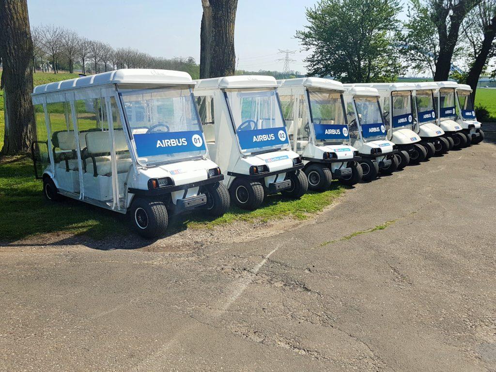 a1 golfkar verhuur groots in evenementenvervoer golfkarren airbus voor ila airshow in. Black Bedroom Furniture Sets. Home Design Ideas